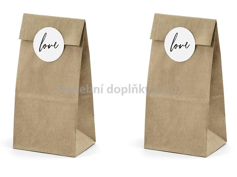 """Papírový sáček hnědý s nápisem """" LOVE """" 6 ks - Obrázek č. 1"""