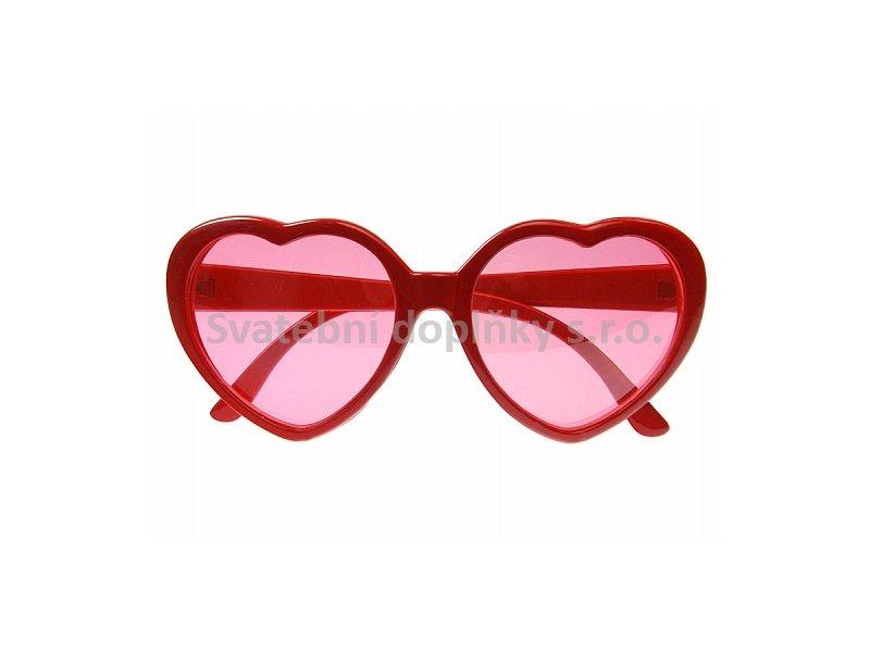 Brýle srdíčka červené - Obrázek č. 1