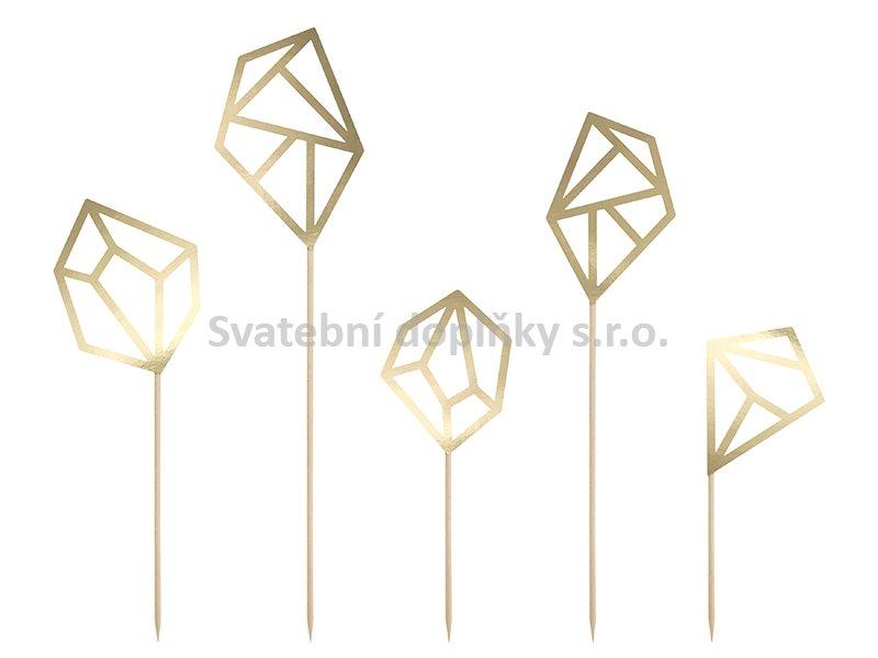 "Zápich na dort "" diamant zlatý"" 5 ks - Obrázek č. 1"