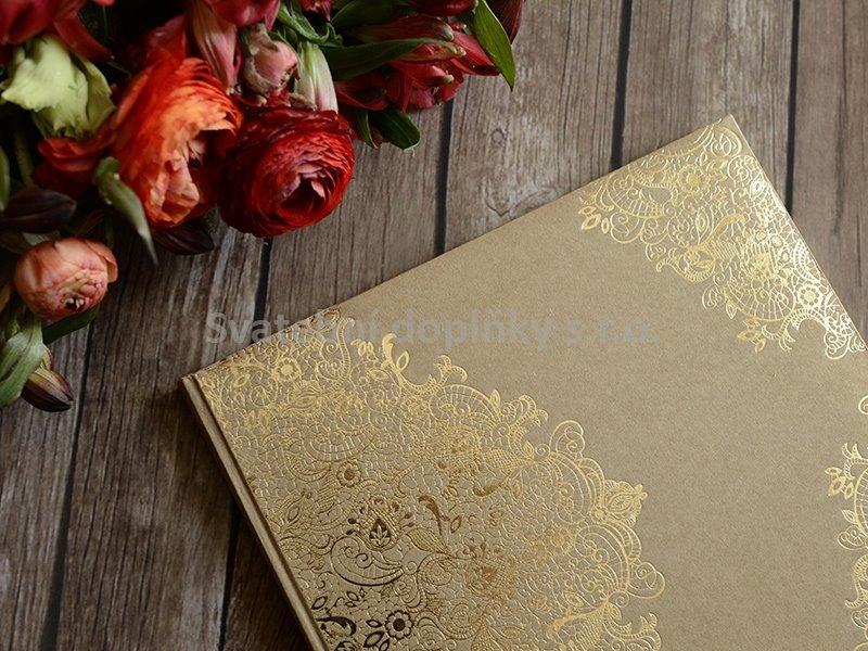 Kniha hostů hnědá, krajka zlatá - Obrázek č. 1