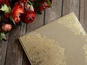 Kniha hostů hnědá, krajka zlatá,
