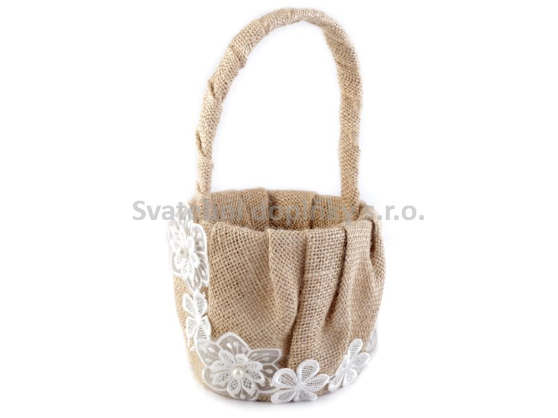 Jutový košíček - stuha s květy - Obrázek č. 1