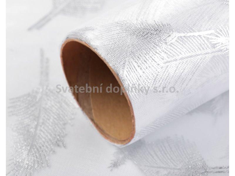 Organza bílá s glitry, peříčka 36 cm - Obrázek č. 1