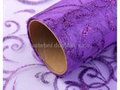 Organza fialová tmavá s glitrovými ornamenty 36 cm,