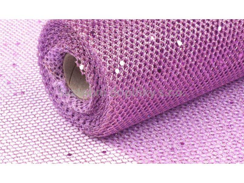 Dekorační síťka fialová tmavá s glitry 48 cm - Obrázek č. 1