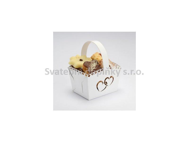 Košíček na cukroví bílý MINI, srdce 10 ks - Obrázek č. 1