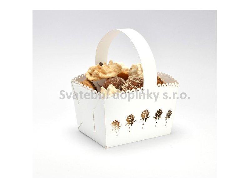 Košíček na cukroví bílý, růže 10 ks - Obrázek č. 1