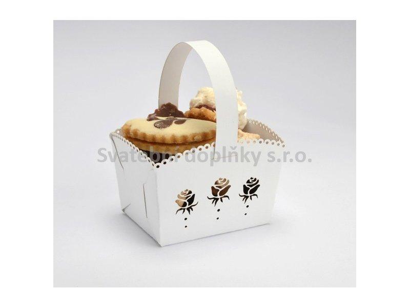 Košíček na cukroví bíý MINI, růže 10 ks - Obrázek č. 1