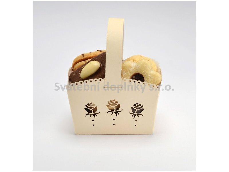 Košíček na cukroví krémový MINI, růže 10 ks - Obrázek č. 1