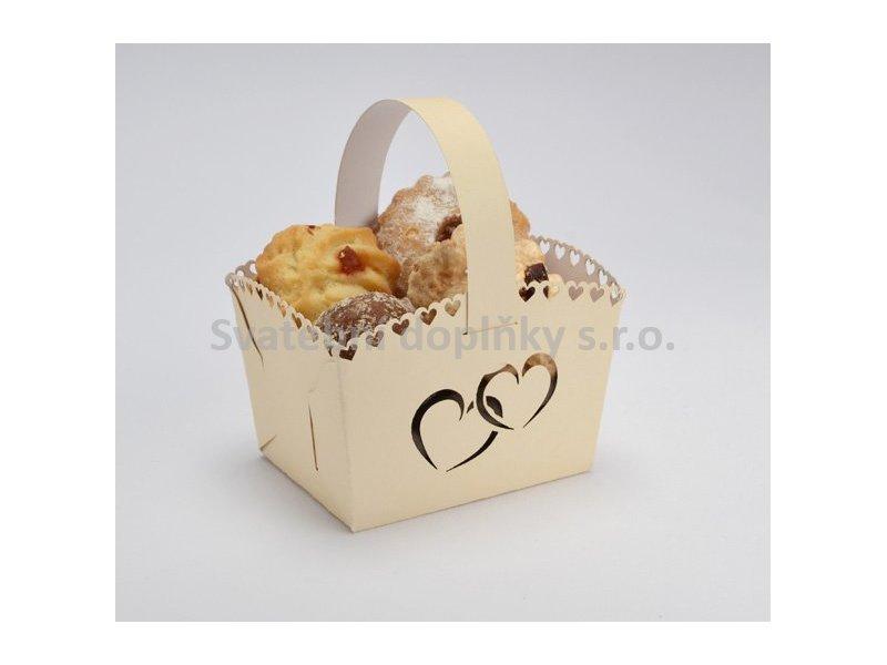 Košíček na cukroví krémový MINI, srdce 10 ks - Obrázek č. 1