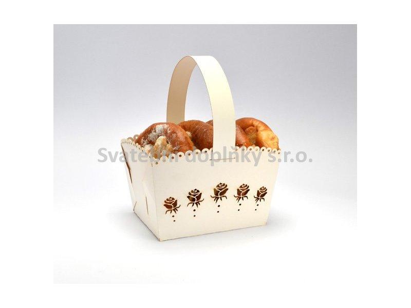 Košíček na cukroví krémový velký, růže 5 ks - Obrázek č. 1