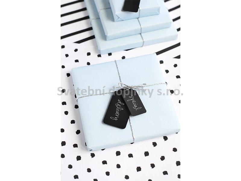 Visačky černé s provázkem 6 ks - Obrázek č. 1