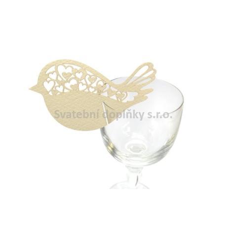 Jmenovka na sklenici ptáček , krémová 10 ks - Obrázek č. 1