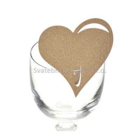 Jmenovka na sklenici srdce, cappuccino 10 ks - Obrázek č. 1