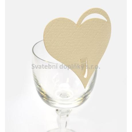 Jmenovka na sklenici srdce, kremová 10 ks - Obrázek č. 1