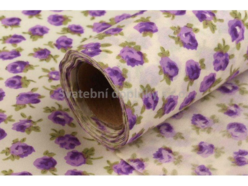 Dekorační tkanina - růže fialové 5 m - Obrázek č. 1