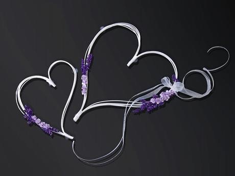 Dekorace na auto ratanové srdce fialové - 2 ks   - Obrázek č. 1