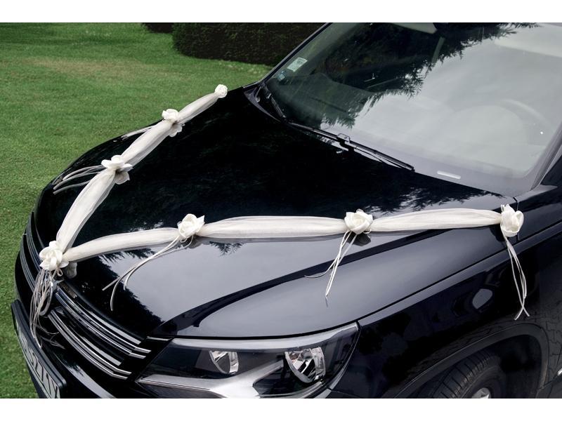 Dekorace na auto z organzy 2 ks barva krémová   - Obrázek č. 1