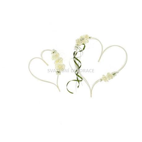 Srdce ratanové 2 ks - béžové, stuha zelená - Obrázek č. 1
