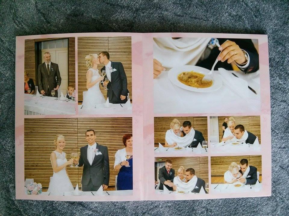 Naše fotokniha ze svatby :-* Jsem nadšená, mohla bych se na ní koukat pořád dokola :-) Zde je pár stránek, ale celkem jich má 54. Na posledních pár stránek jsem dala i fotky ze svatební cesty, ať to máme komplet. - hostina