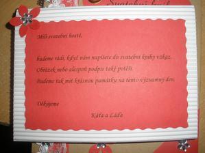 informacní kartička k knize hostů také od pet23