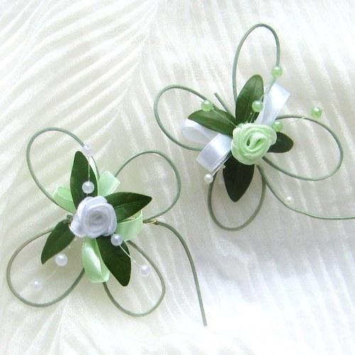 Čtyřlístková svatba- bílo zelená - vývazky