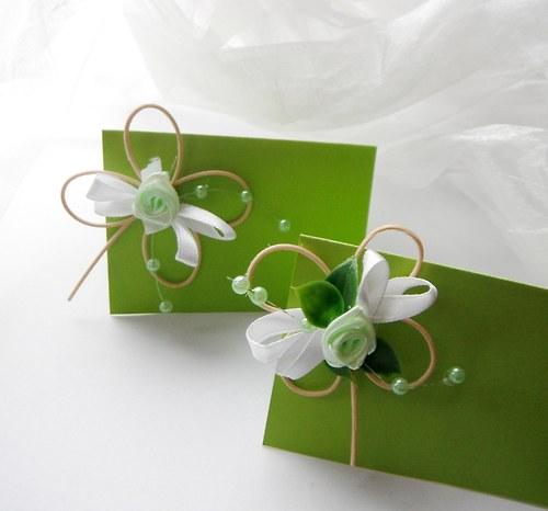Čtyřlístková svatba- bílo zelená - jmenovky