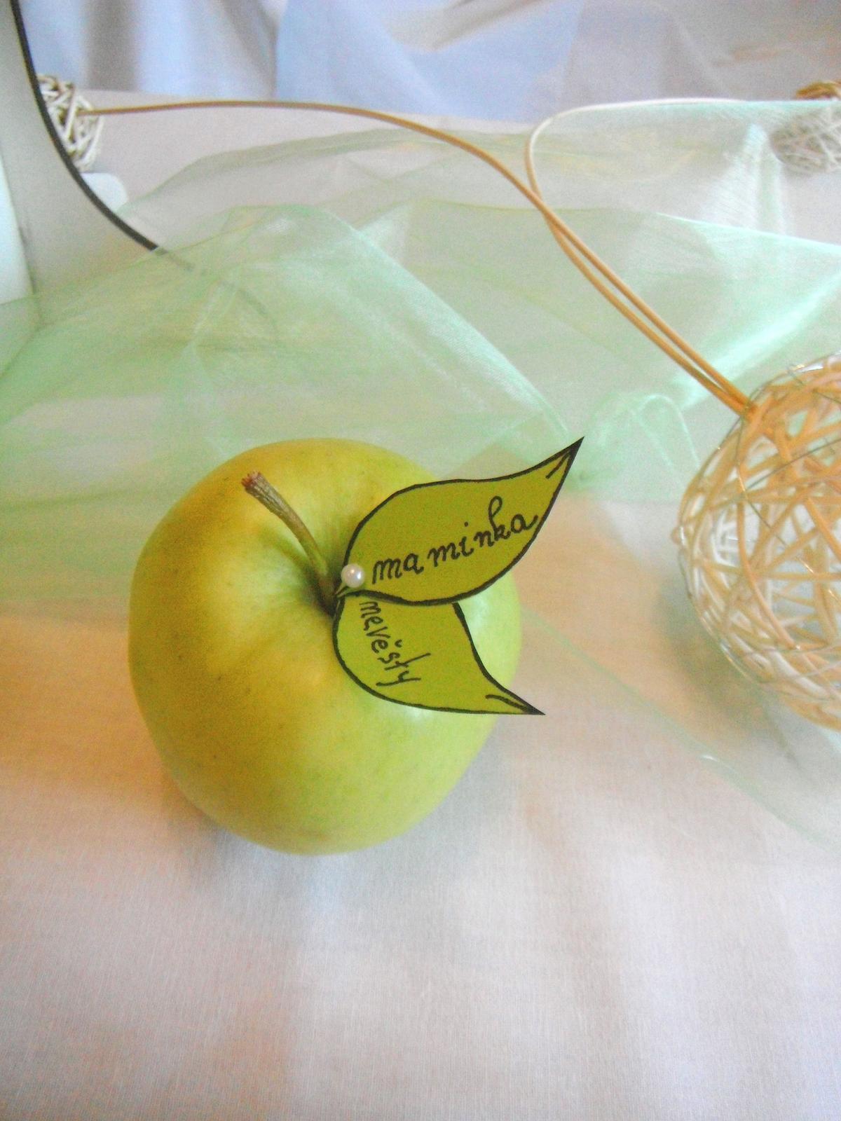 jmenovky- jabloňové lístky - Obrázek č. 1