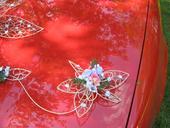 "Dekorace na auto ""Krajkový květ růžovofialový"","
