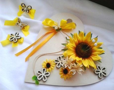 sada- srdíčko pod prstýnky a mašličky slunečnice s - Obrázek č. 1