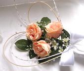 """dekorace na auto """"lososové růže a jemný kvítek"""","""