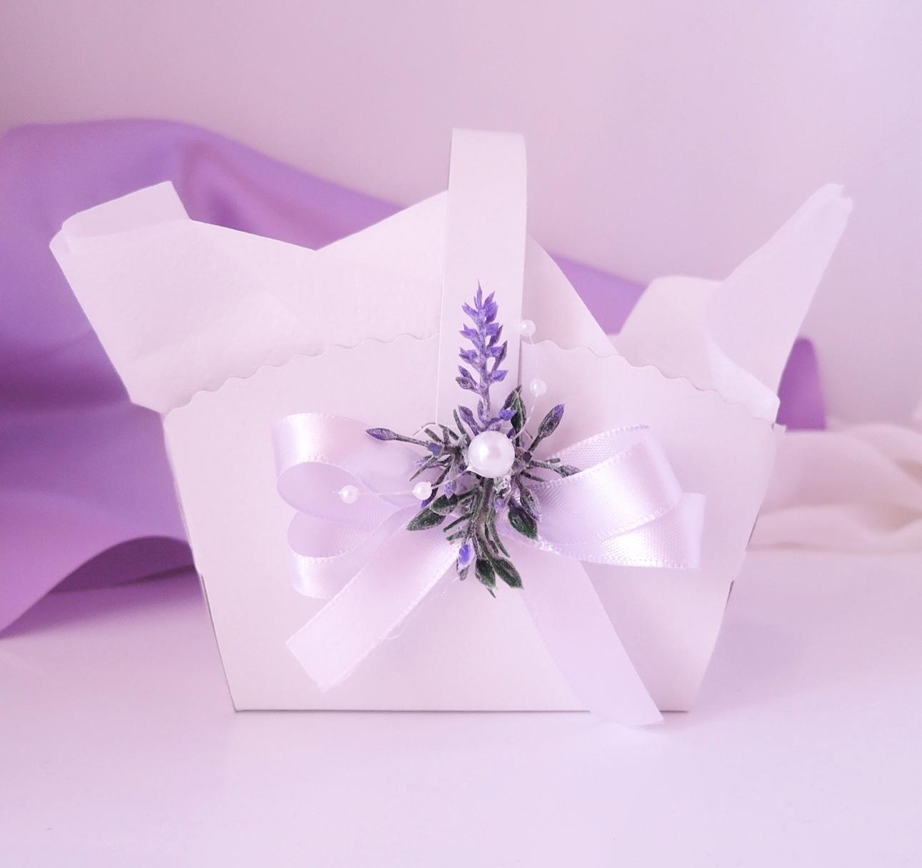 Košíček na malé koláčky levandulový jednostranný - Obrázek č. 1