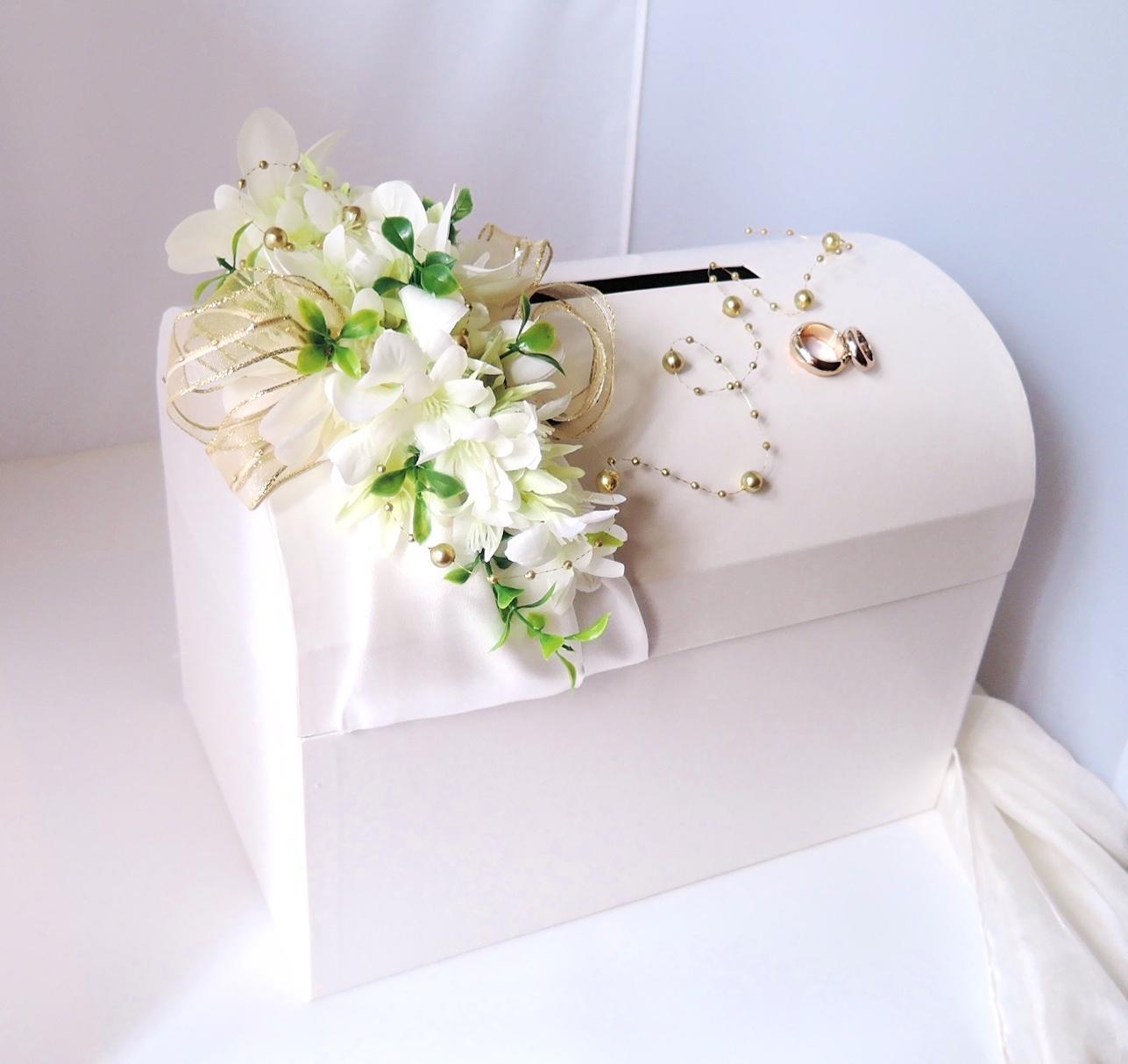 svatební pokladnička velká - zlatobílá-pronájem - Obrázek č. 1