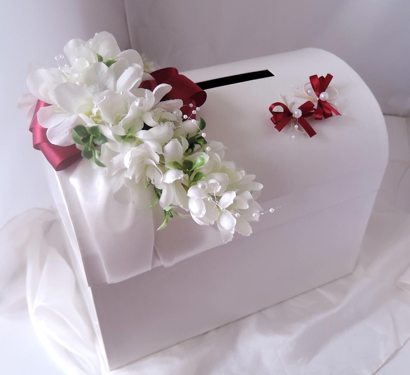 svatební pokladnička velká-motýlci bordó-zapújčení - Obrázek č. 2