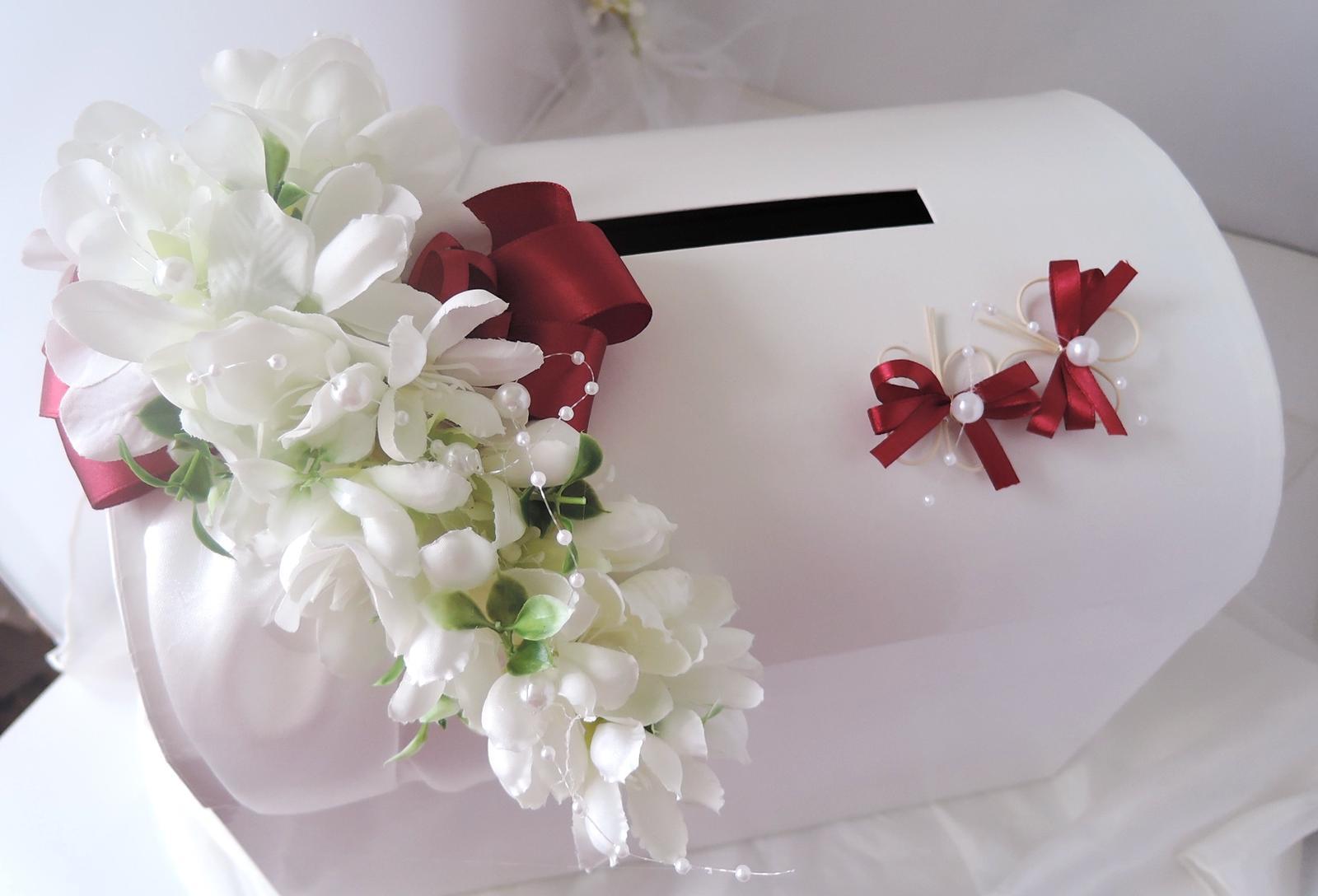 svatební pokladnička velká-motýlci bordó-zapújčení - Obrázek č. 1