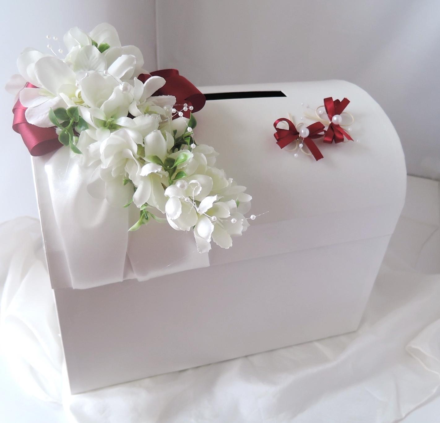 svatební pokladnička velká-motýlci bordó-zapújčení - Obrázek č. 3
