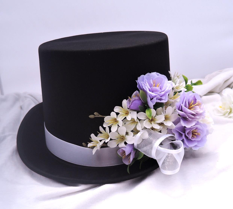 autokorsáž- černý cylindr s bílou a lila  - Obrázek č. 1