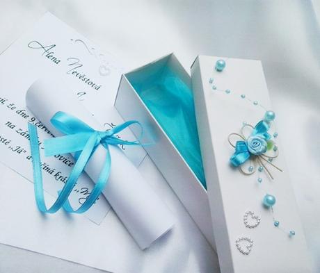 svatební oznámení v krabičce- s motýlkem - Obrázek č. 1