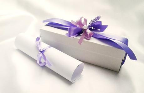 Svatební oznámení v krabičce- s levandulkou - Obrázek č. 1