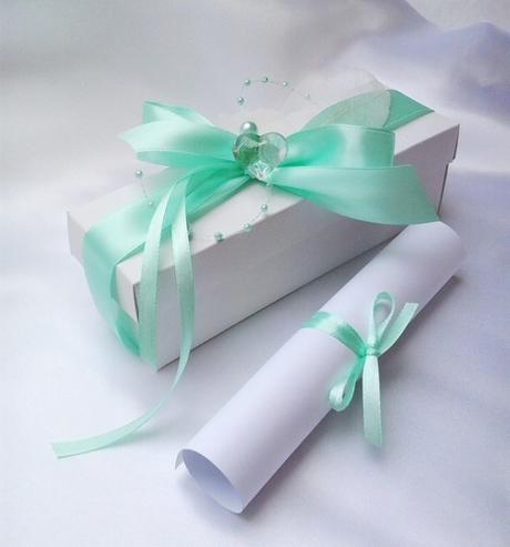 Svatební oznámení v krabičce- mentolové - Obrázek č. 1