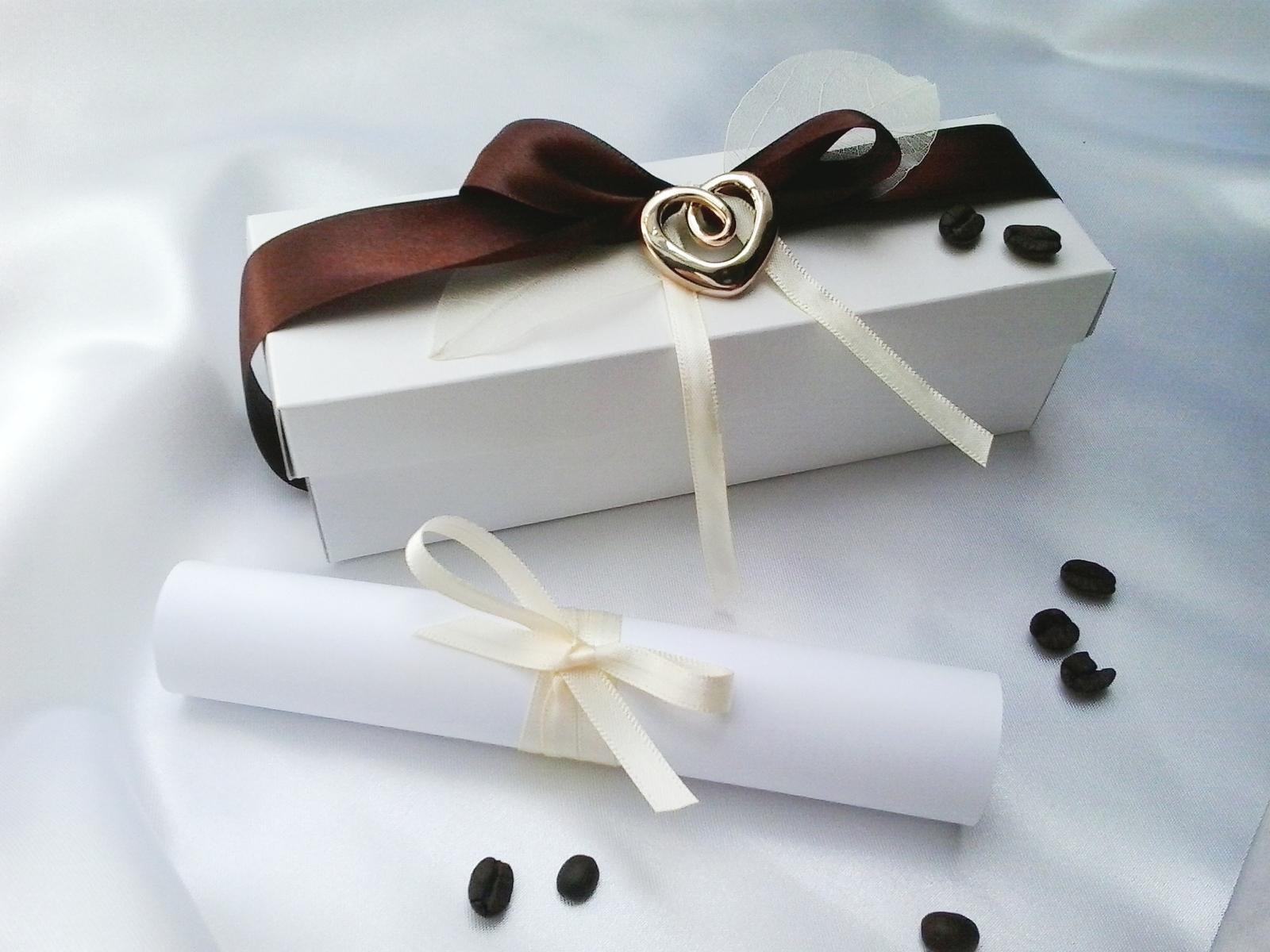 Svatební oznámení v krabičce- kávové - Obrázek č. 1