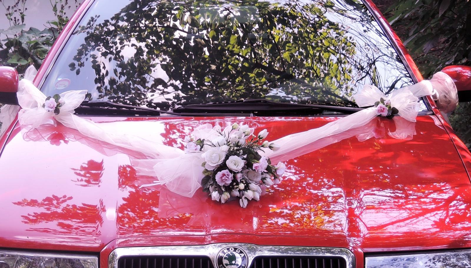 """svatební auto - """"Bílé růže s růžovou"""" - Obrázek č. 1"""