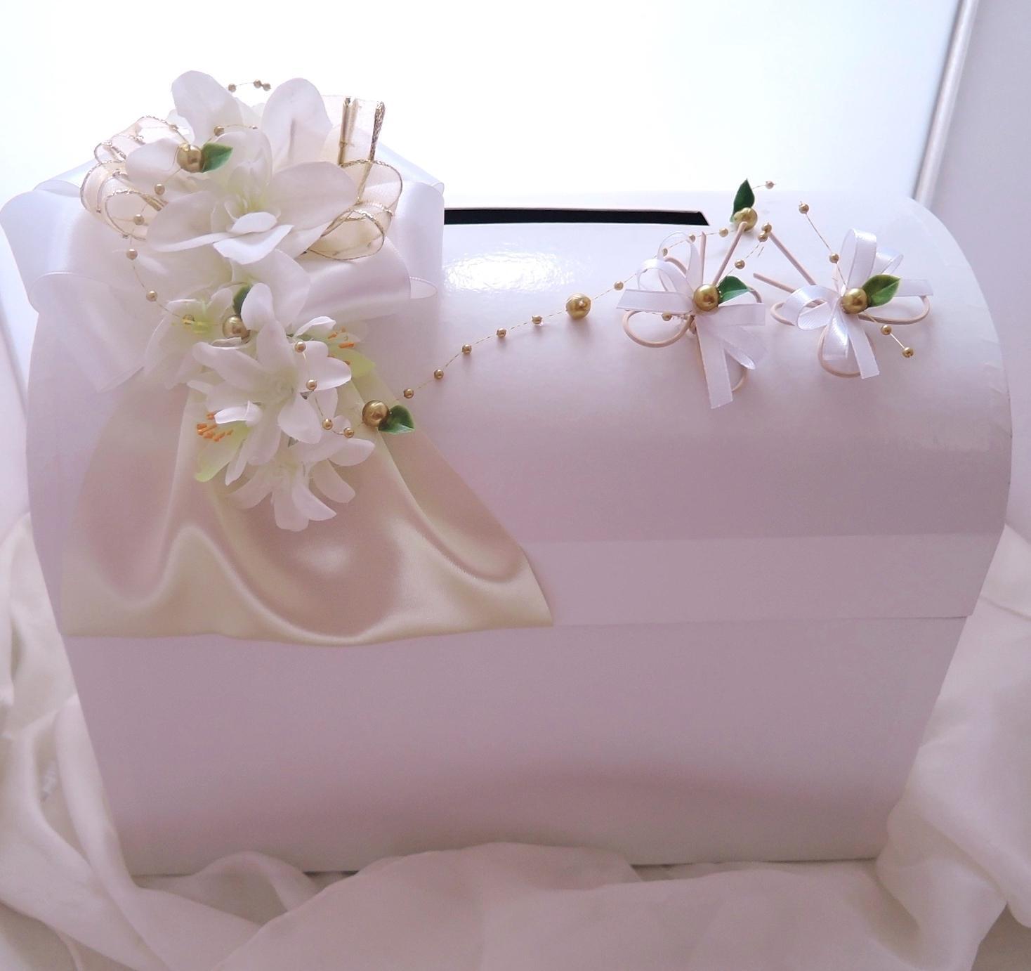 svatební pokladnička velká- motýlci zlatobílí - Obrázek č. 1