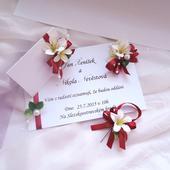 """svatební sada """"Bílé květy v bordó"""","""