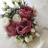 """svatební auto - """"Bílé růže se starorůžovou"""","""