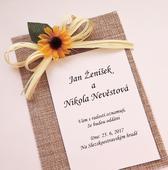 """Svatební oznámení s jutou """"Slunečnice"""","""