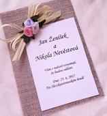 """Svatební oznámení s jutou """"Růžičky"""","""