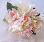"""svatební auto - """"Krémové růže s růžovou """","""