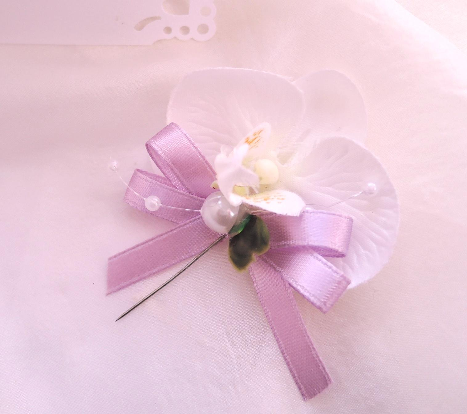 """svatební vývazek """"Bílá orchidej s lila"""" - Obrázek č. 1"""