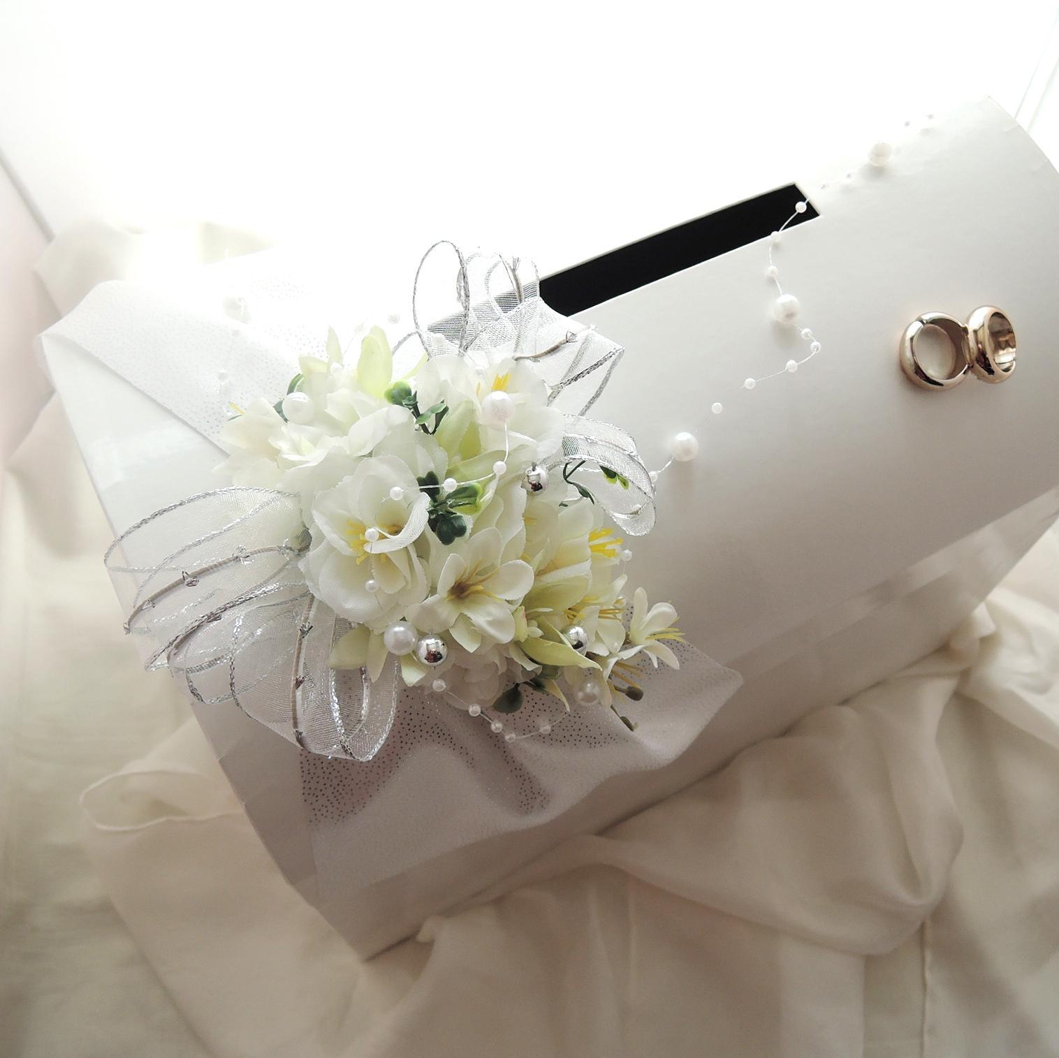 svatební pokladnička velká - stříbrná  pouze půjčení - Obrázek č. 2